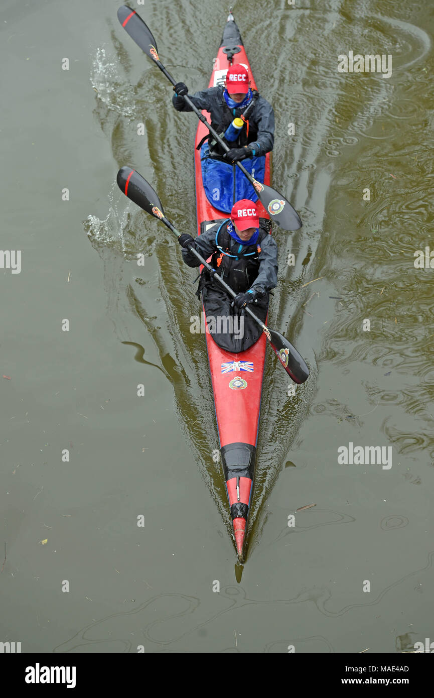 Devizes Wiltshire UK. 31st March 2018.  Harry Gager and Tom Harcourt take part in the 70th anniversary of the Devizes to Westminster canoe race over the Easter Weekend starting from Devizes Wharf. Credit: Diane Vose/Alamy Live News - Stock Image