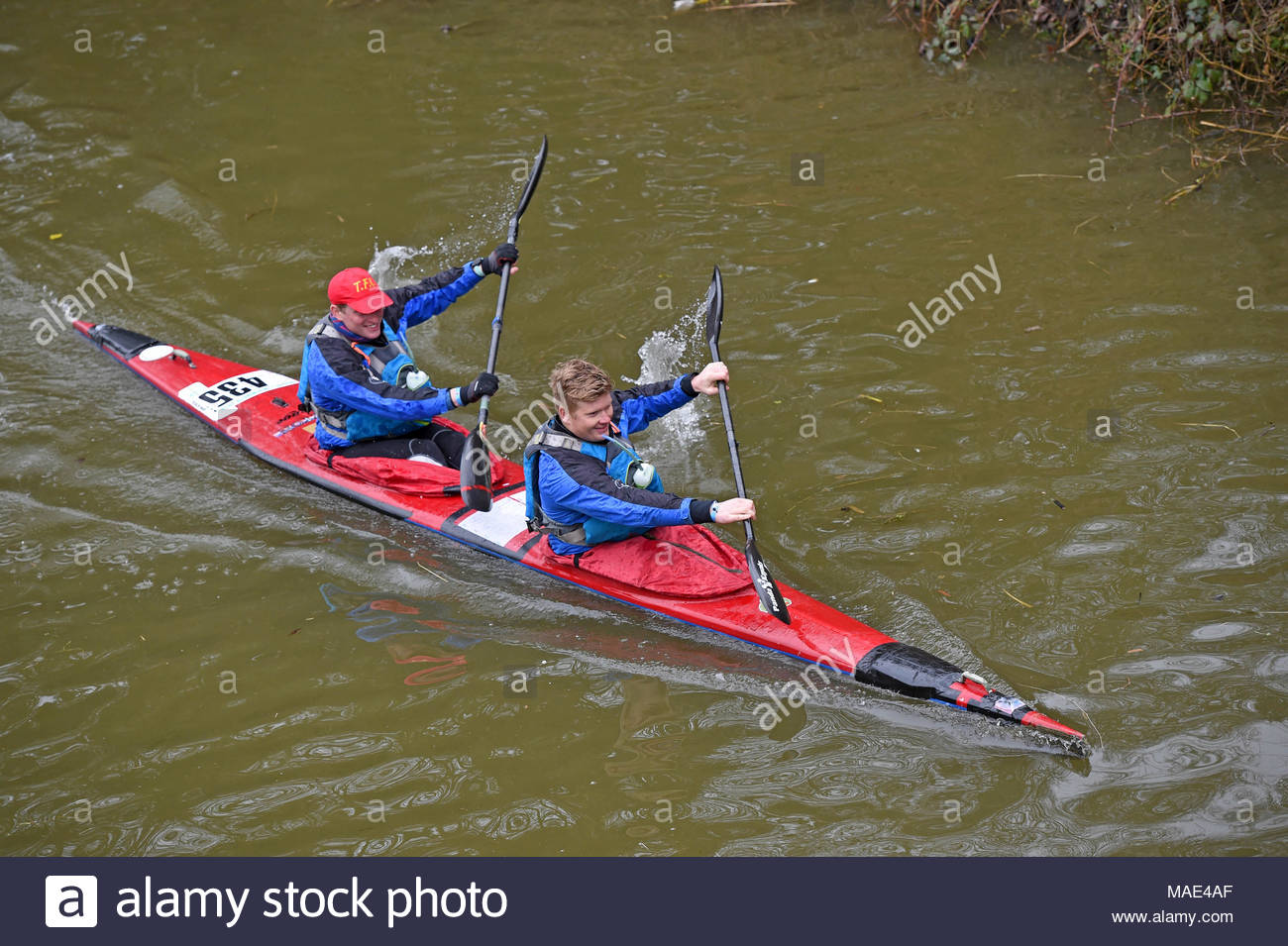 Devizes Wiltshire UK. 31st March 2018.  Will Brazier and Charlie Peters take part in the 70th anniversary of the Devizes to Westminster canoe race over the Easter Weekend starting from Devizes Wharf. Credit: Diane Vose/Alamy Live News - Stock Image