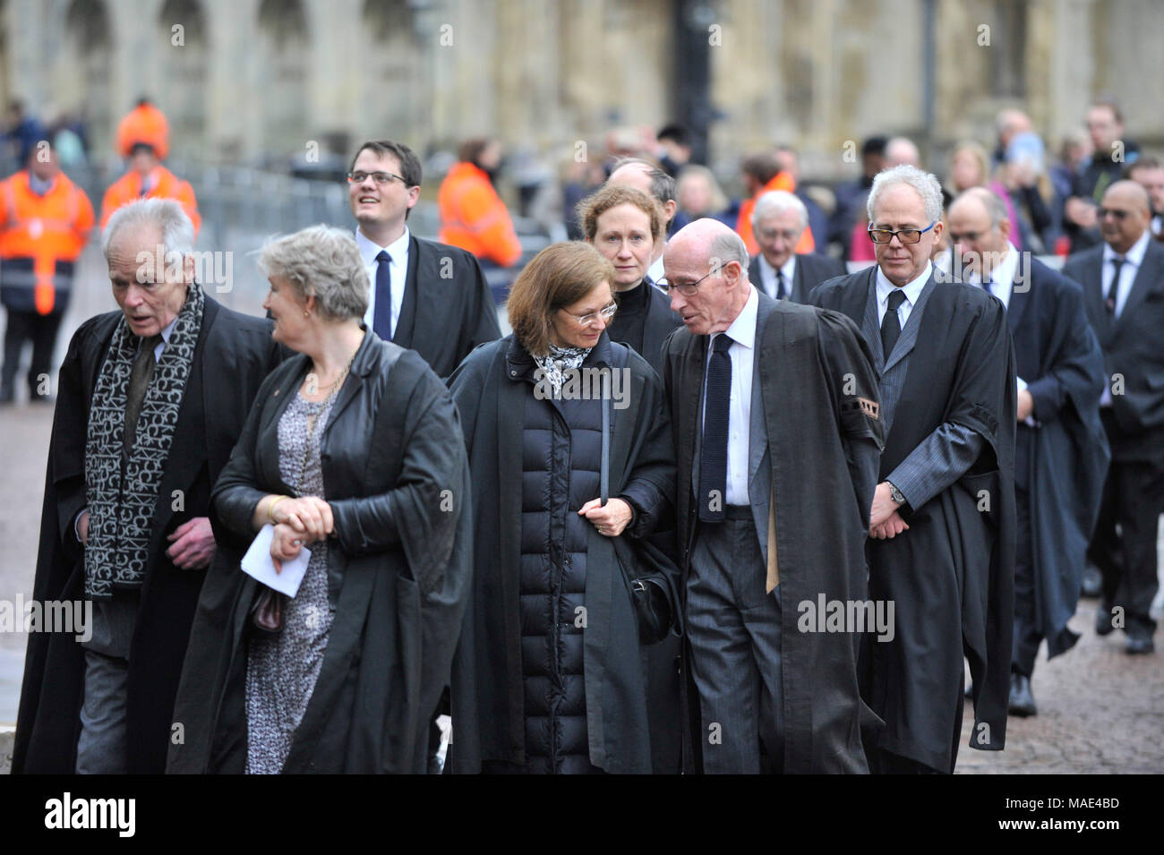 Cambridge, Britain. 31st Mar, 2018. University professors arrive at the private funeral of British physicist Stephen Hawking at the Great St Mary's Church in Cambridge, Britain, on March 31, 2018. The funeral of Professor Stephen Hawking was held Saturday at a church near the Cambridge University college where he was a fellow for more than half a century. Credit: Stephen Chung/Xinhua/Alamy Live News Stock Photo