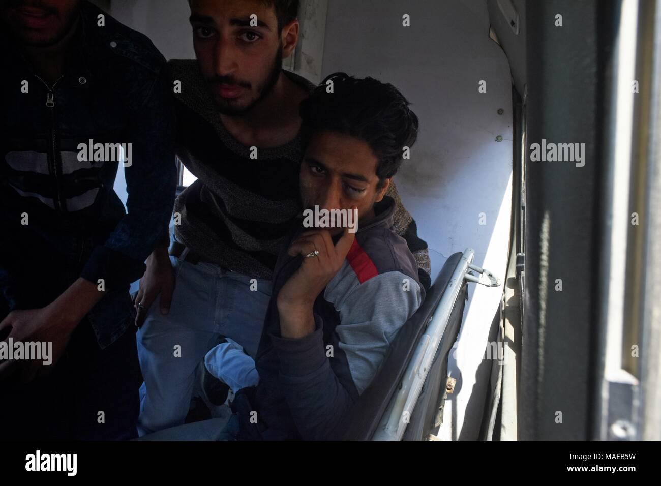 Srinagar, India  1st Apr, 2018  A civilian with an eye injury caused