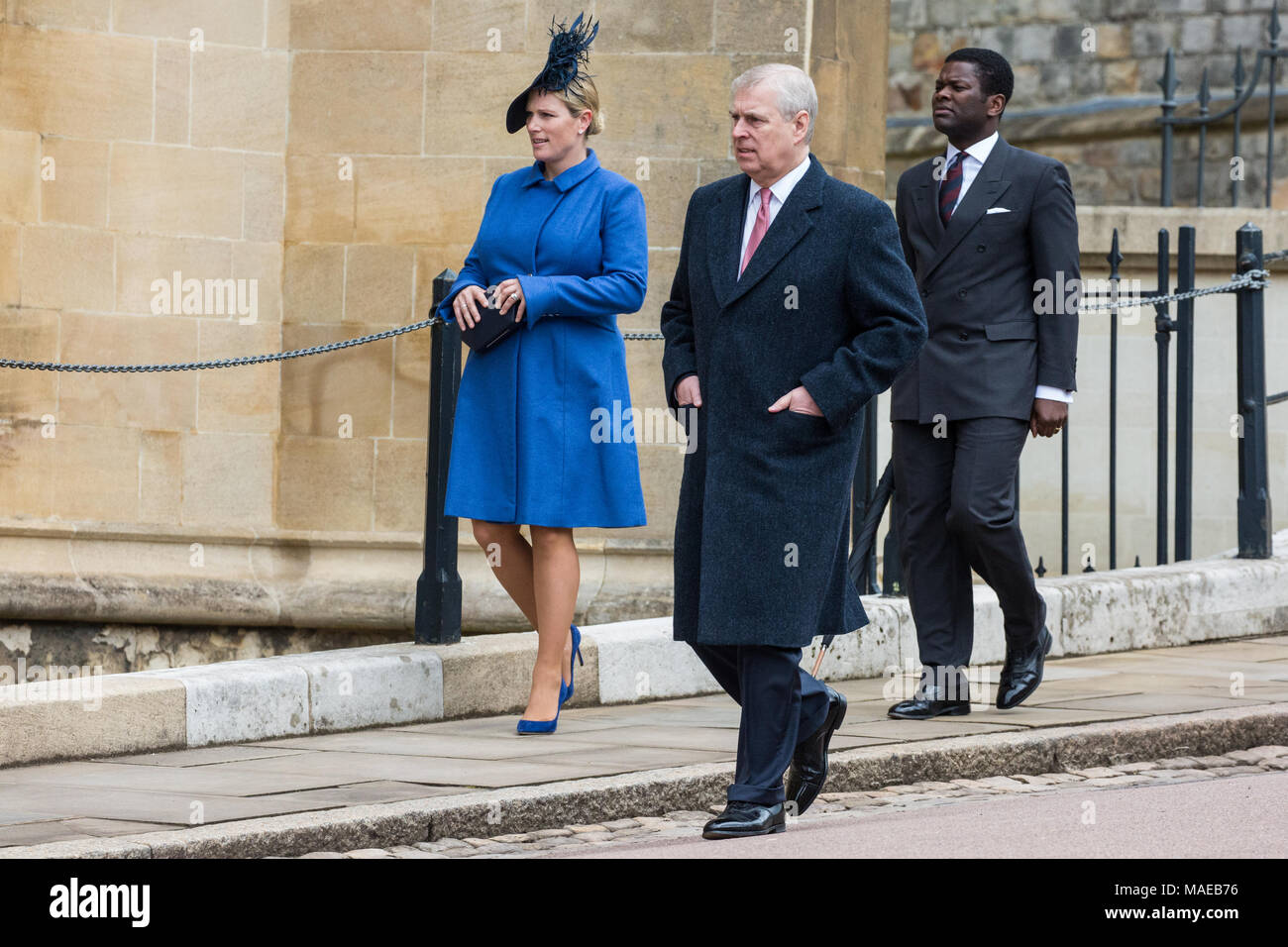 Windsor, UK. 1st April, 2018. Prince Andrew, the Duke of York, arrives to attend the Easter Sunday service at St George's Chapel in Windsor Castle alongside Zara Tindall. Credit: Mark Kerrison/Alamy Live News - Stock Image