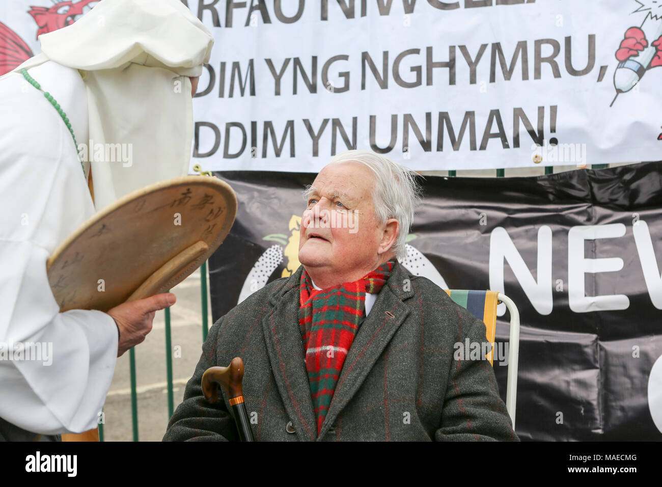 1st April, 2018. Bruce Kent at the rally. CND celebrate the 60th anniversary of the first Aldermaston march - an event that mobilised thousands against the Bomb and shaped radical protest for generations. Penelope Barritt/Alamy Live News - Stock Image
