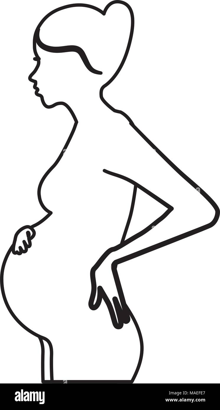 silhouette side view woman pregnancy vector illustration - Stock Vector