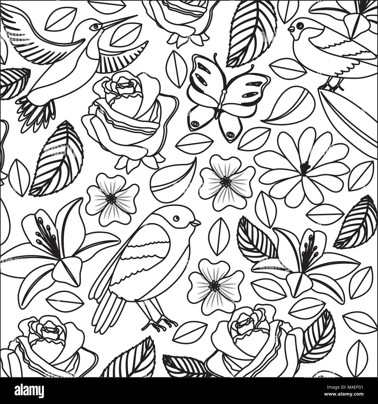 background vintage delicate flowers birds butterflies vector illustration Stock Vector