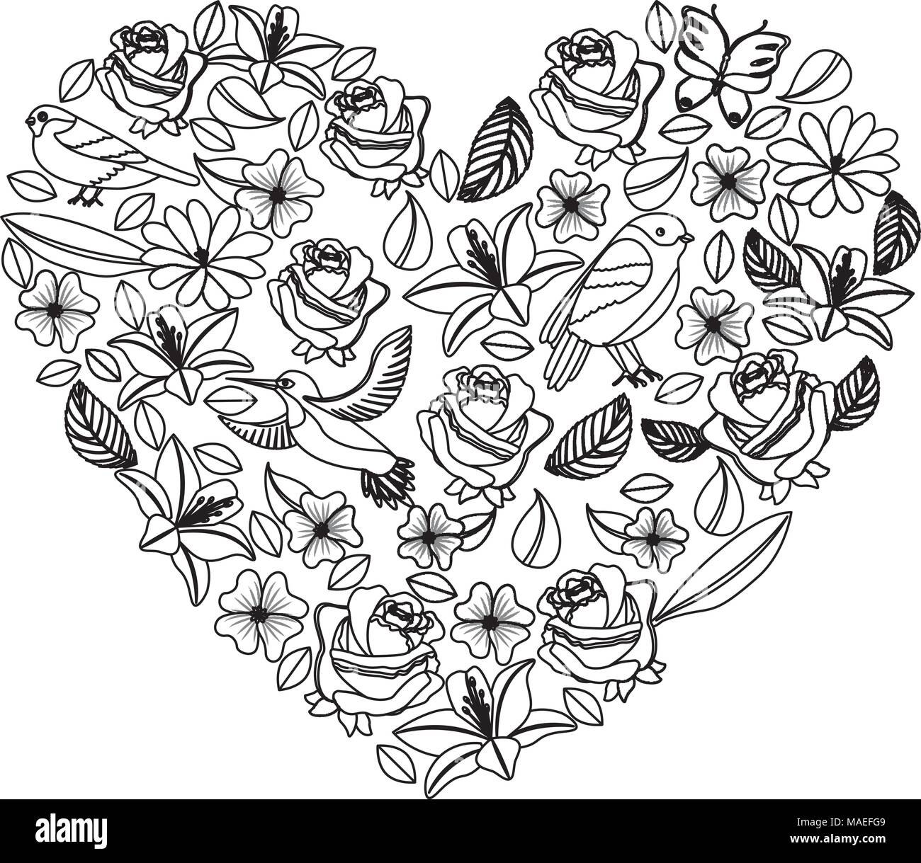natural heart pattern with flowers and birds butterflies leaves vector illustration Stock Vector
