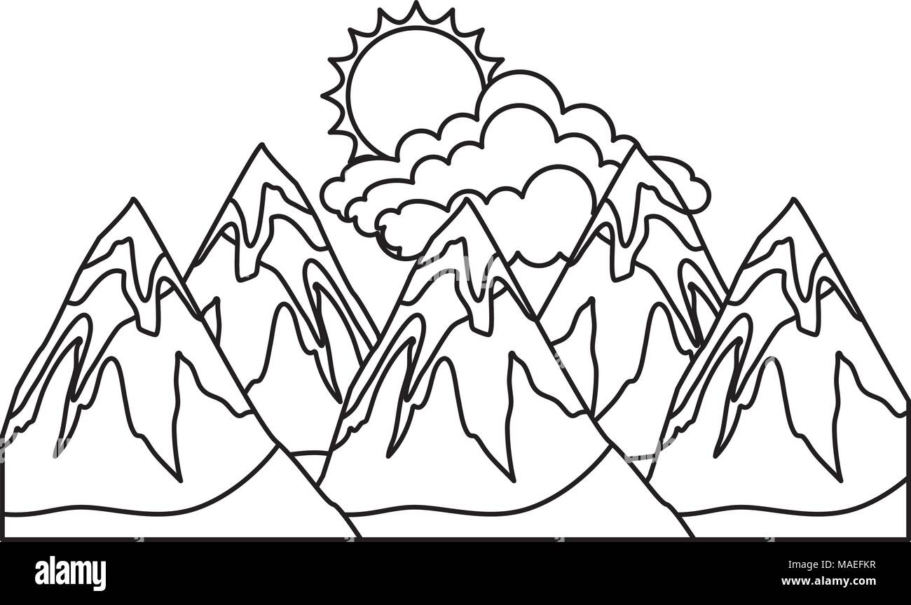 peaks mountains snowy clouds and sun vector illustration stock Mount Fuji peaks mountains snowy clouds and sun vector illustration