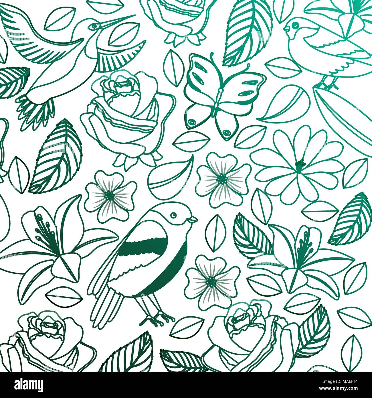 background vintage delicate flowers birds butterflies vector illustration degraded color green Stock Vector