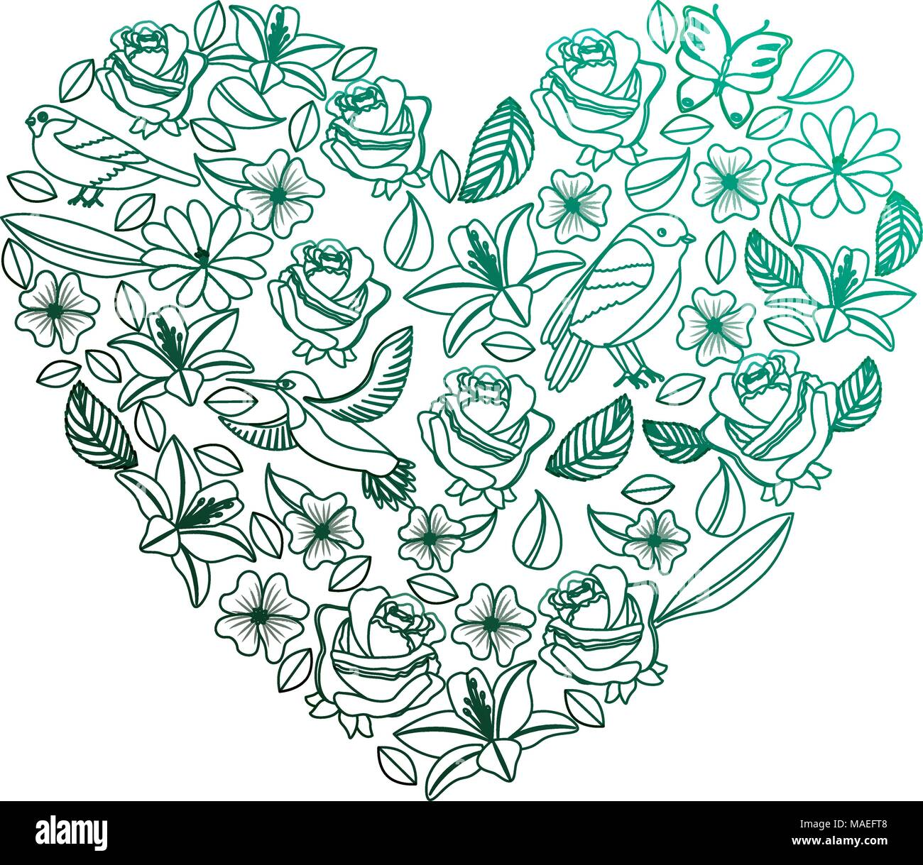 natural heart pattern with flowers and birds butterflies leaves vector illustration degraded color green Stock Vector