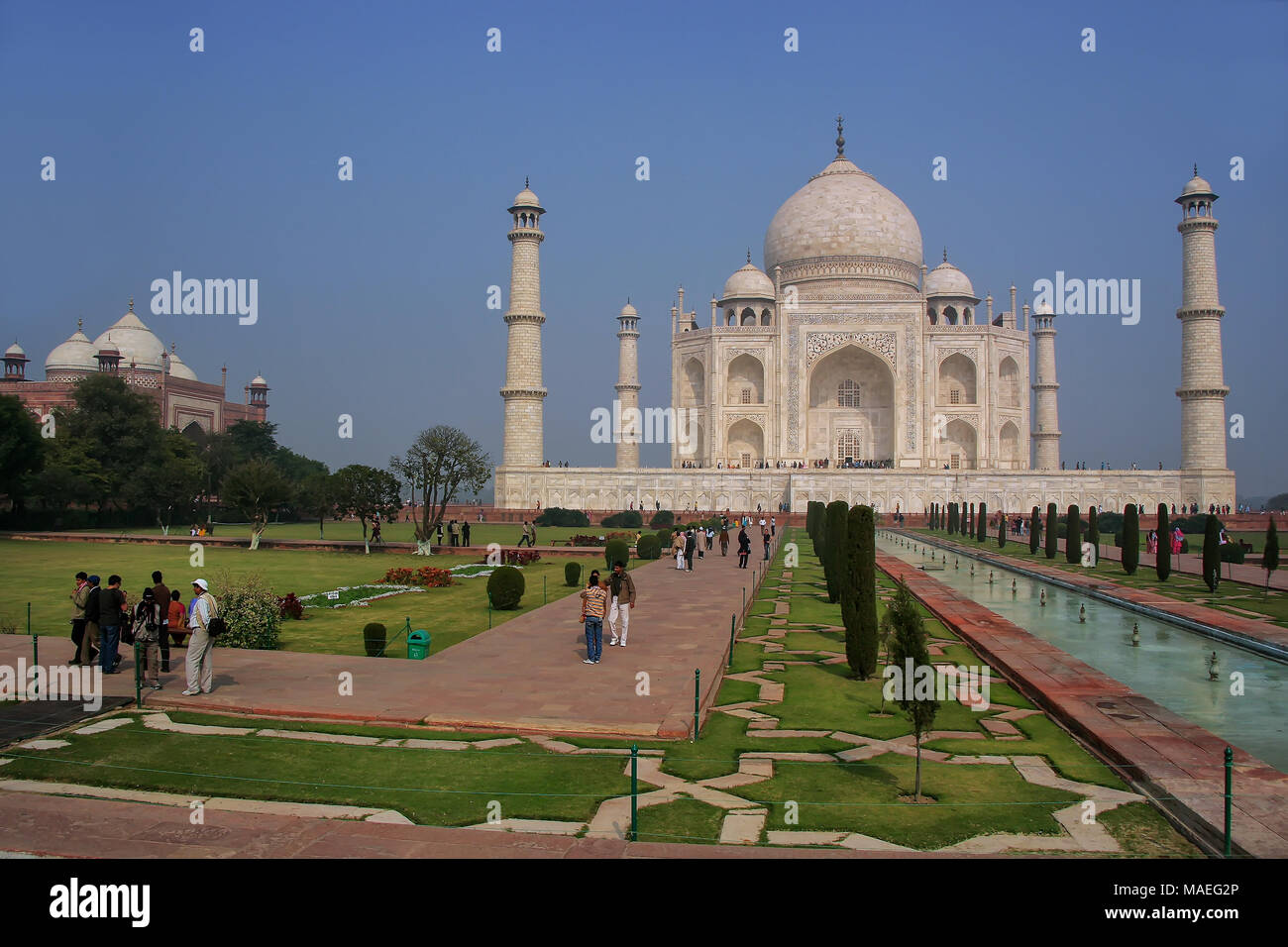 Taj Mahal with charbagh garden in Agra, Uttar Pradesh, India. It was build in 1632 by Emperor Shah Jahan as a memorial for his second wife Mumtaz Maha - Stock Image