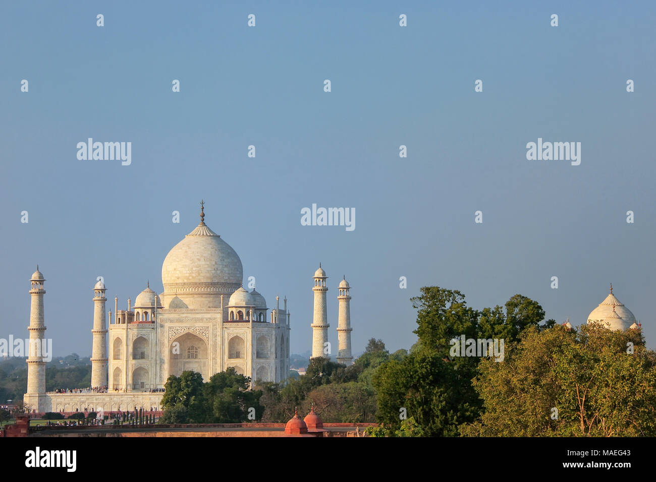 View of Taj Mahal in Agra, Uttar Pradesh, India. It was build in 1632 by Emperor Shah Jahan as a memorial for his second wife Mumtaz Mahal. - Stock Image