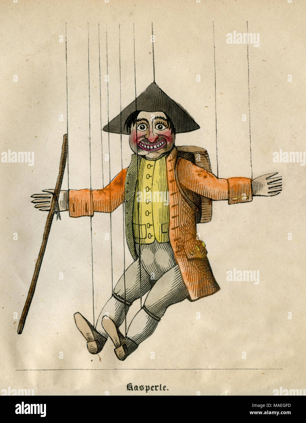 Kaspele puppet figure from Doctor Faust puppet play, 1850, , created , published - Stock Image