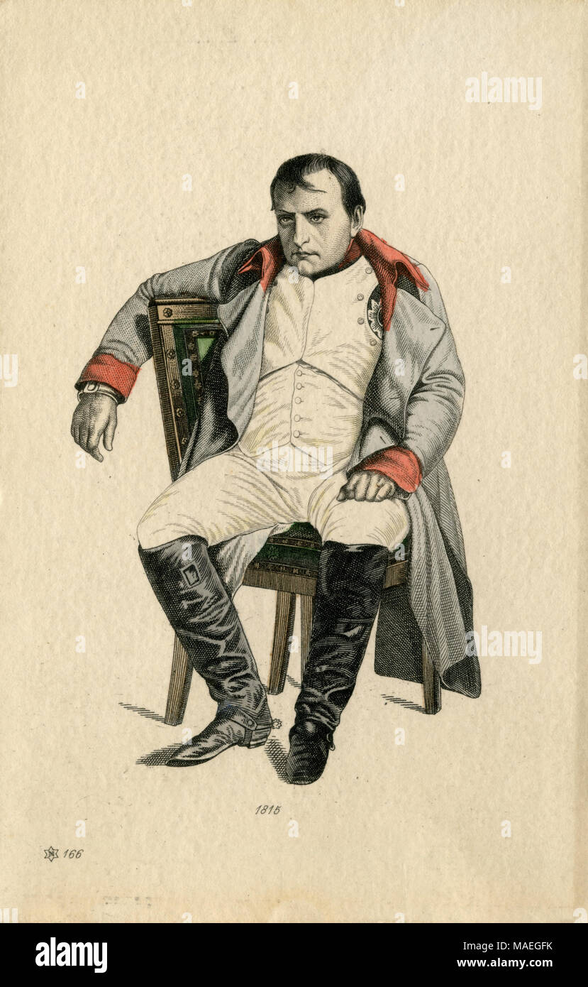 Napoleon after the crushing defeat at Waterloo, 1815, , created , published - Stock Image