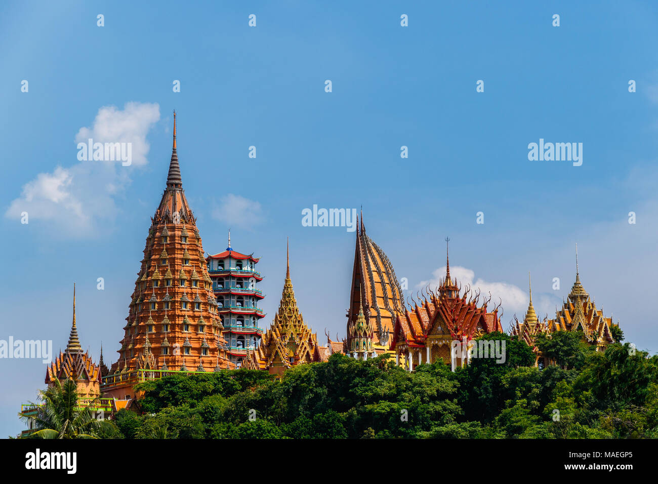The Temple of Wat Tham Sua on a hilltop just outside of Kanchanaburi, Thailand. - Stock Image