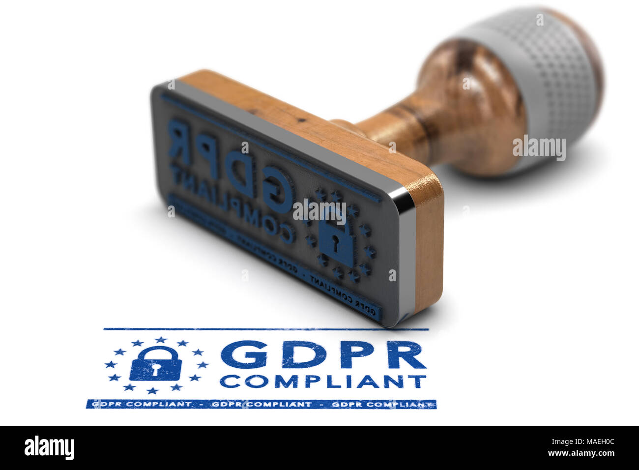 EU General Data Protection Regulation Compliance. Rubber stamp with the text GDPR Compliant over white background. 3D illustration - Stock Image