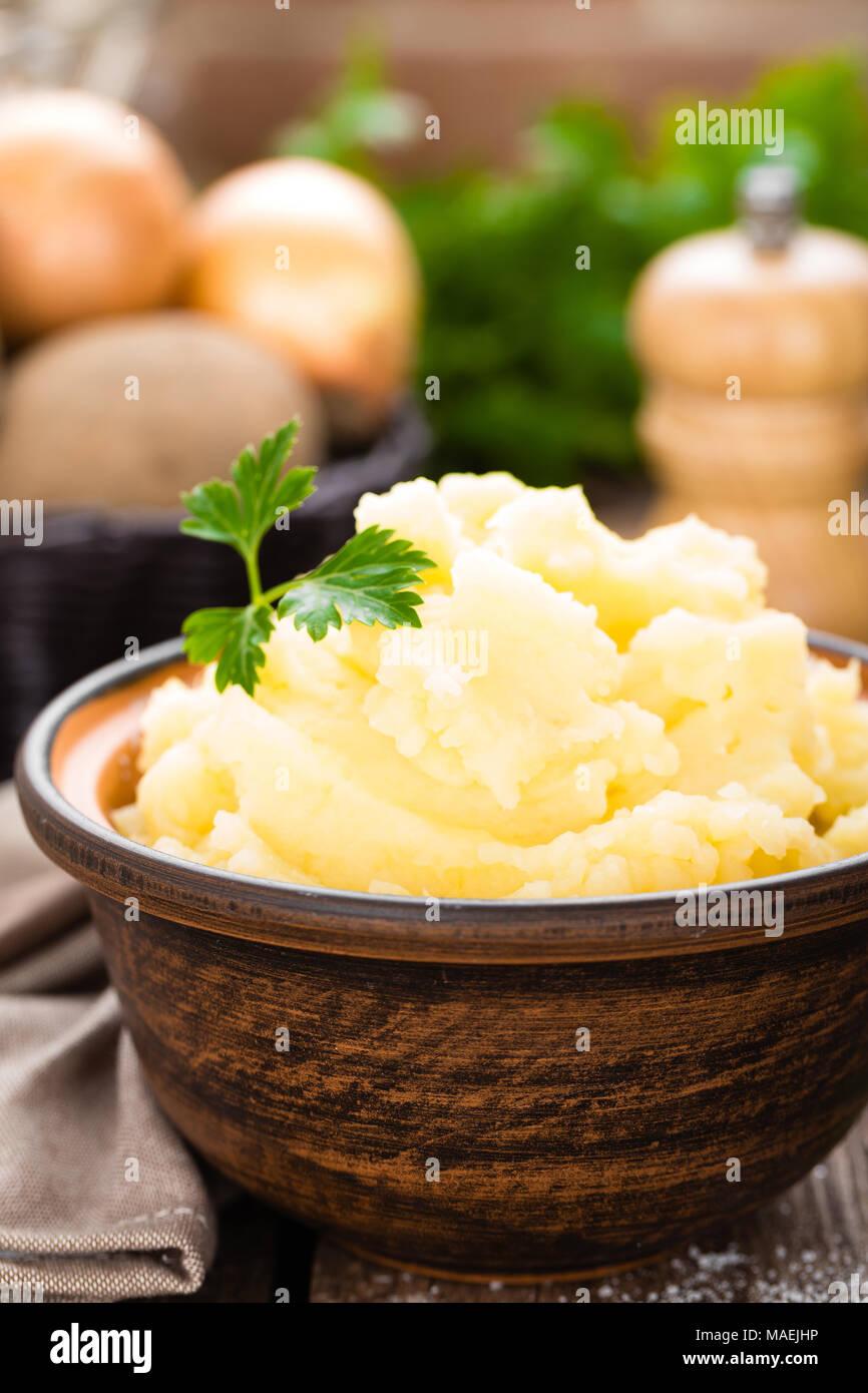 Mashed potato. Potato mash with butter and milk. Boiled potato. Potato puree - Stock Image