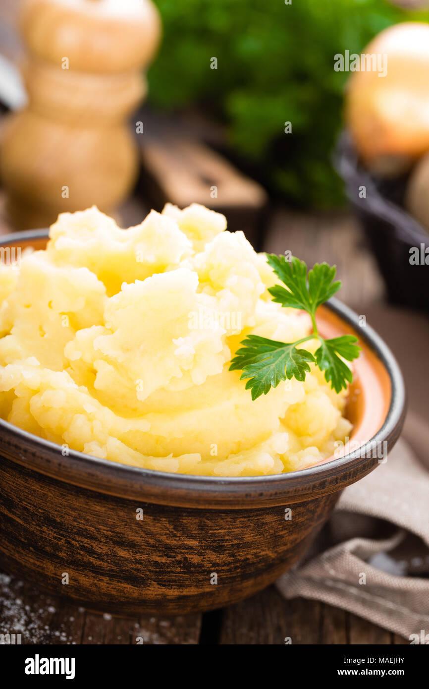 Mashed potato. Potato mash with butter and milk. Boiled potato. Potato puree Stock Photo