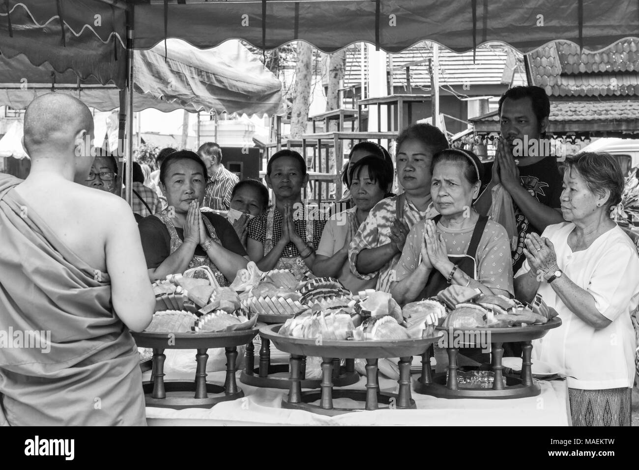 First Day of Thai New Year, Chaing Mai - Stock Image