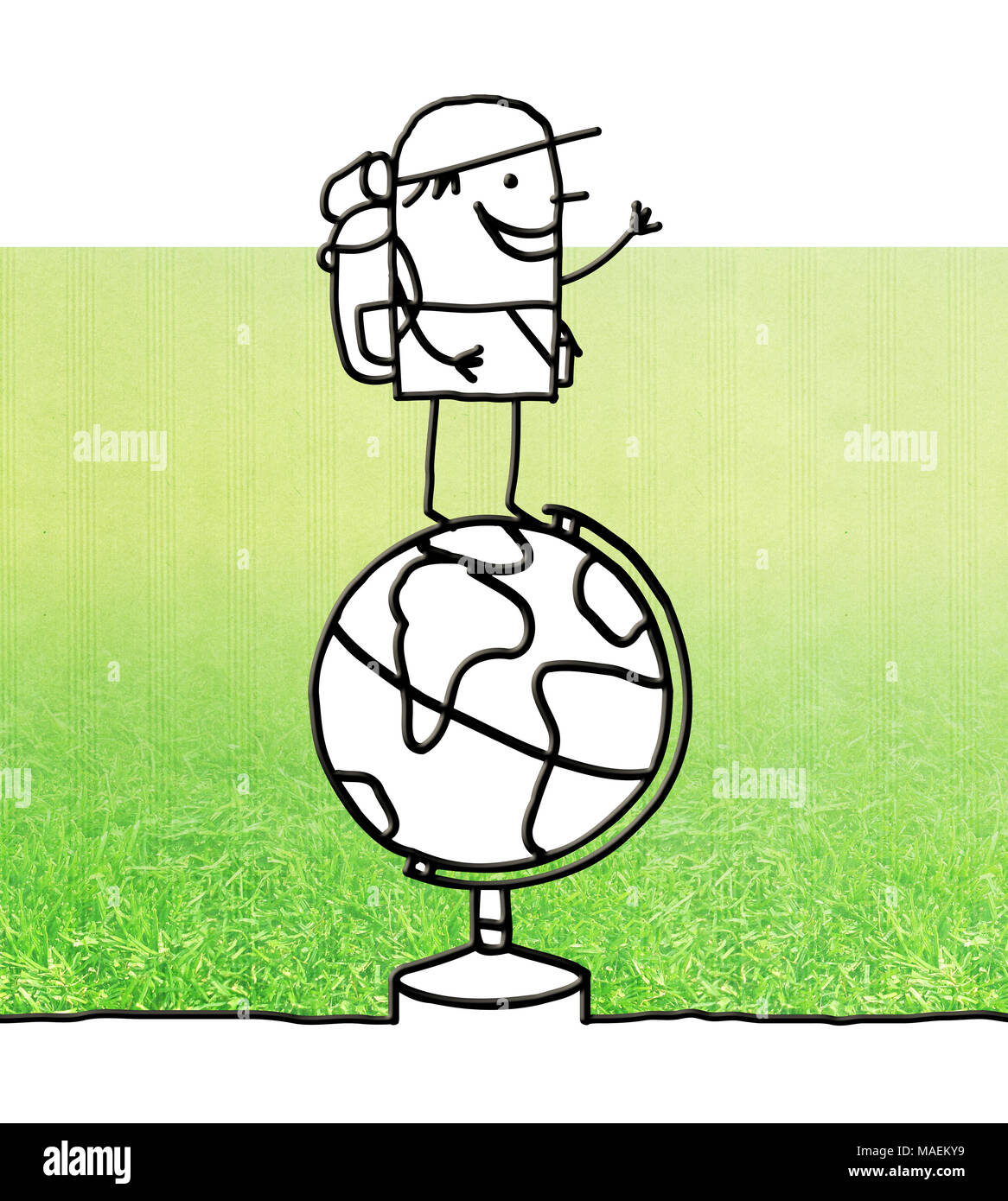 Cartoon traveller standing on a globe - Stock Image