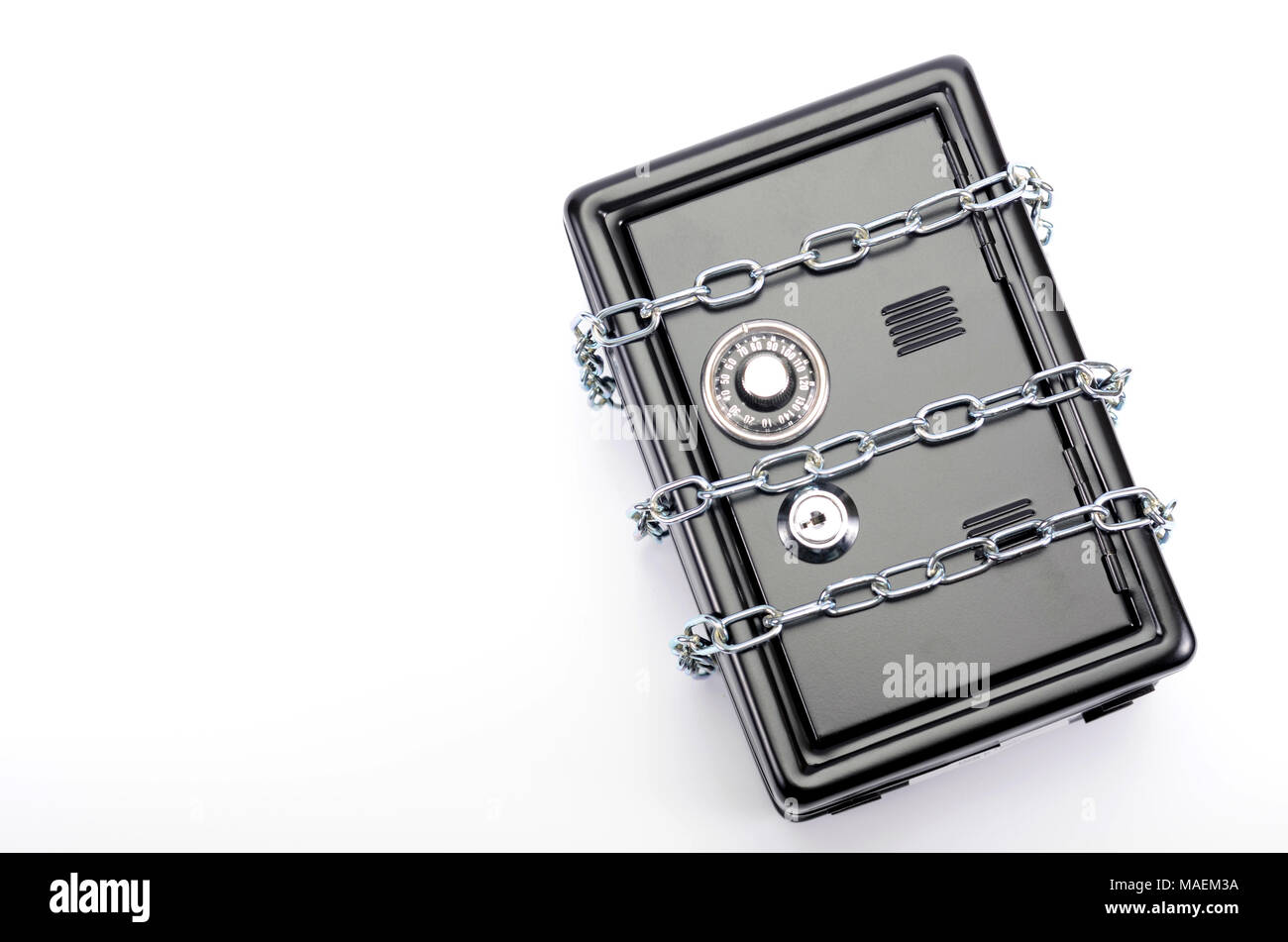 Saving your money , steel safe with money, over white background, money insurance concept - Stock Image