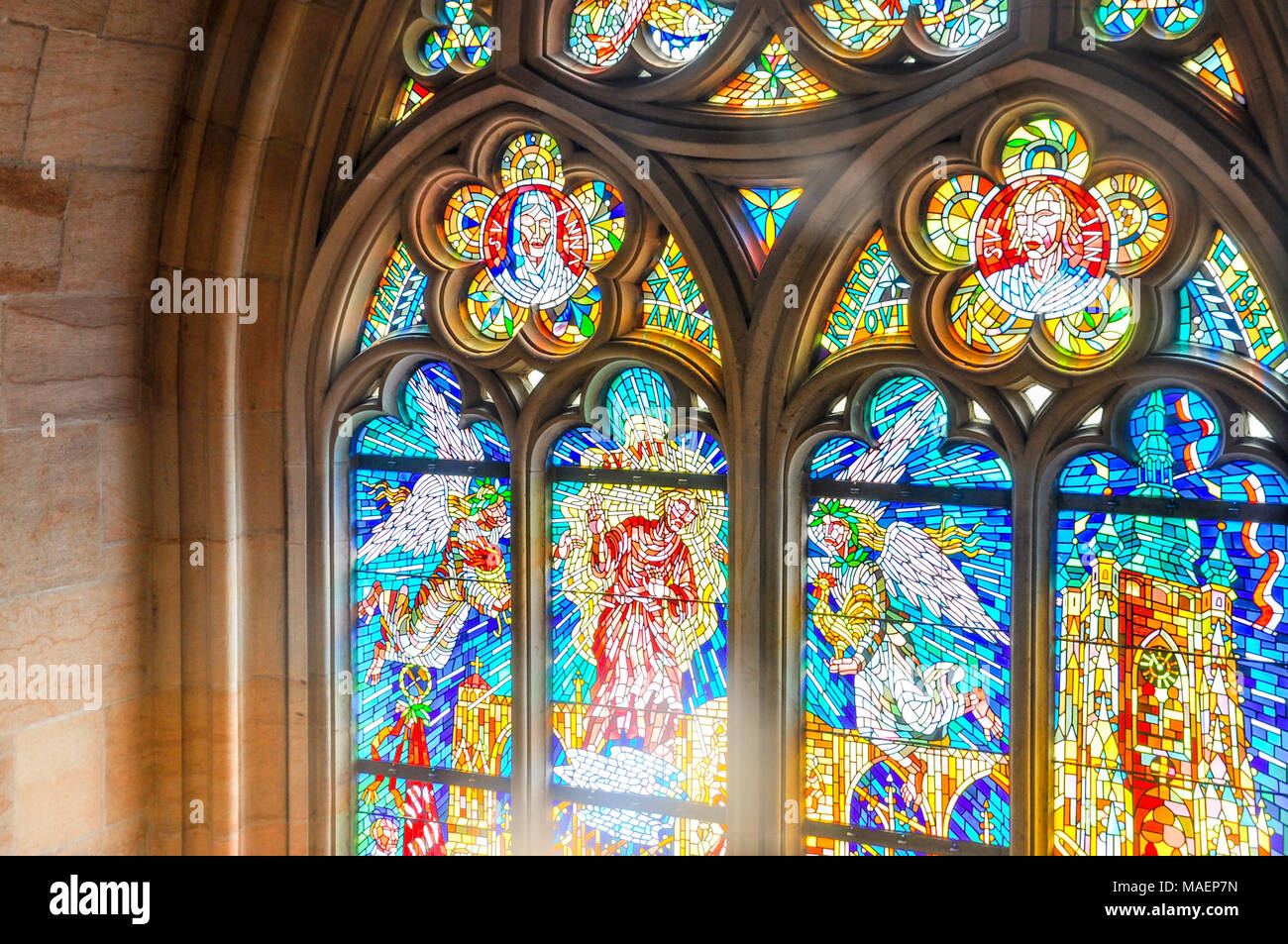 Beautiful Stained glass window detail Stock Photo