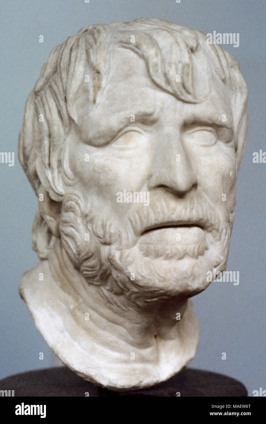 Pseudo-Seneca. Bust identified with the Roman philosopher Seneca during lot of time. It may represent the Greek poet Hesiod (ca. 700 BC). Roman copy of a lost Hellenistic sculpture. Roman bust. British Museum. London, England. - Stock Image