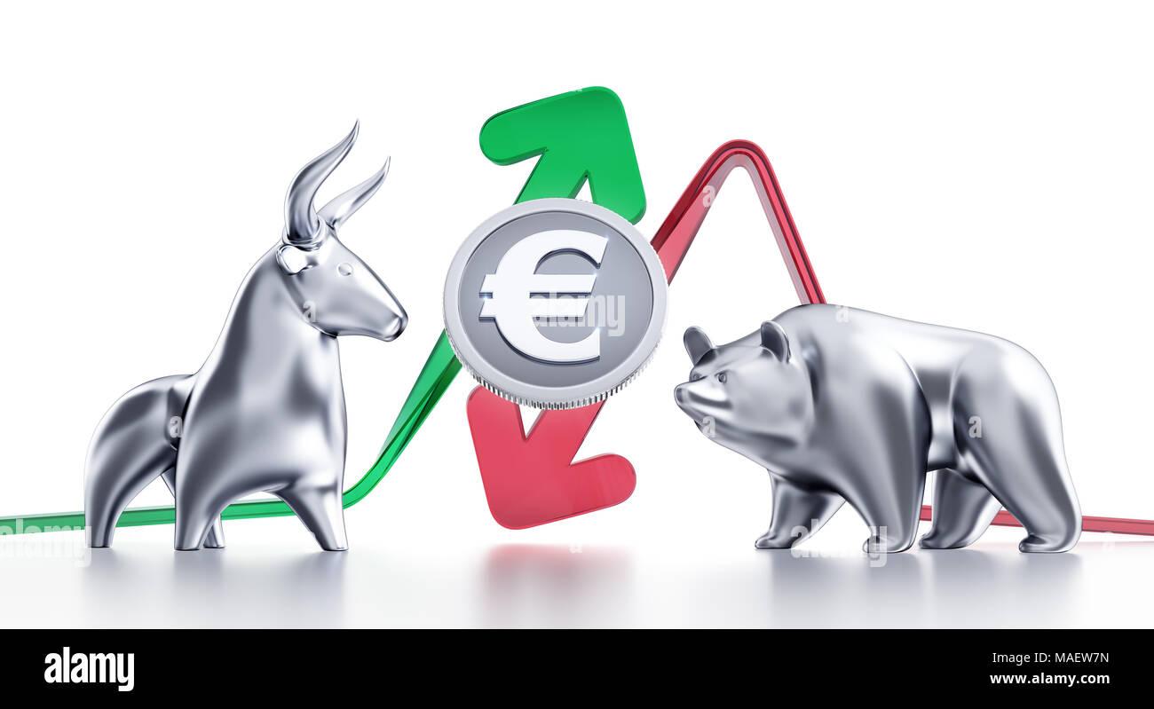 Bullish And Bearish Trends Of Euro - Stock Image