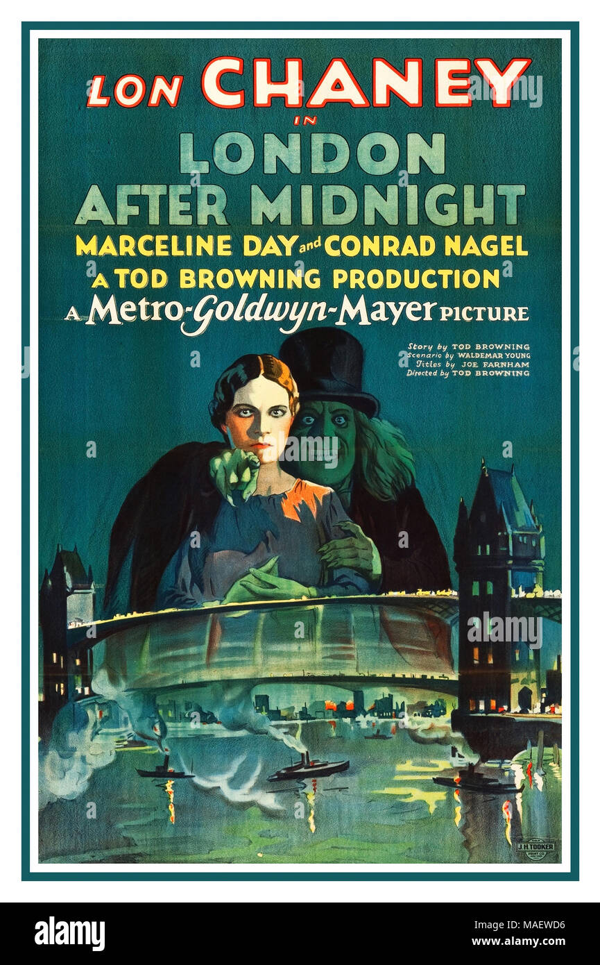 Vintage Film Movie poster for the American mystery film 'London After Midnight' (1927). MGM. - Stock Image