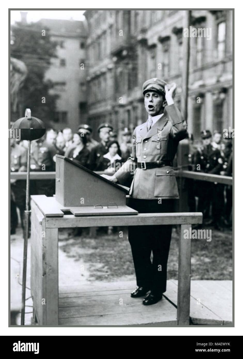 Joseph Goebbels Nazi Propaganda Minister in NSDAP uniform making passionate speech Berlin, Germany 25. August 1934 - Stock Image