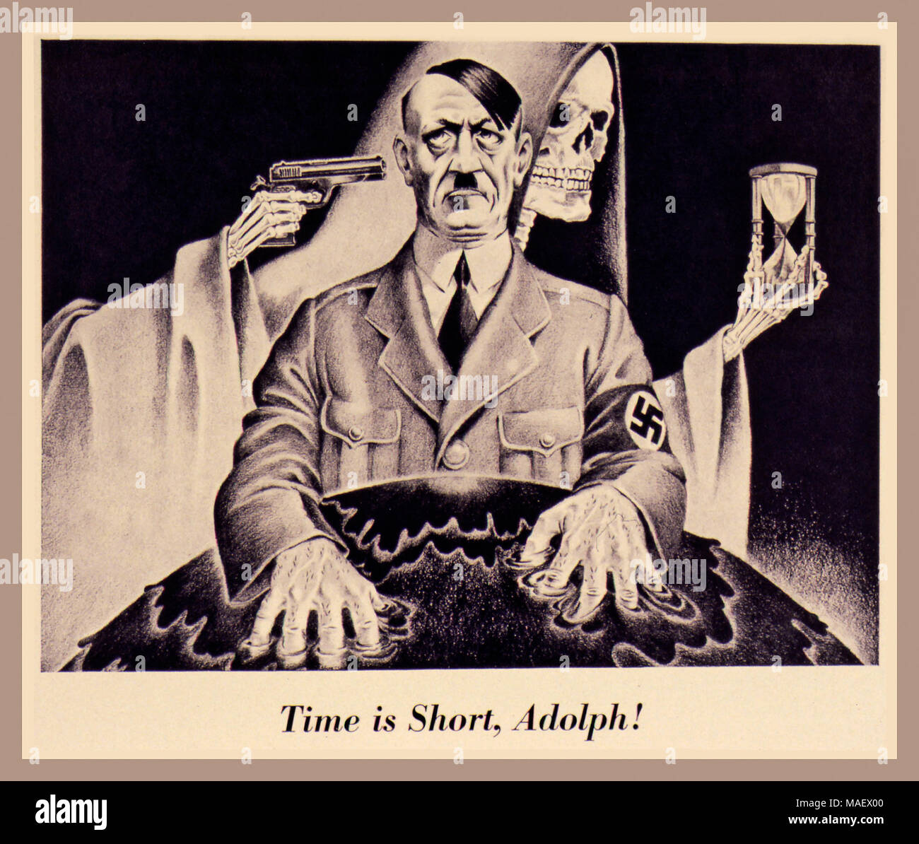 """Vintage British Allied Propaganda WW2 Propaganda poster of Adolf Hitler with the Grim Reaper waiting....""""Time is short, Adolph!""""  circa 1942-1943 - Stock Image"""