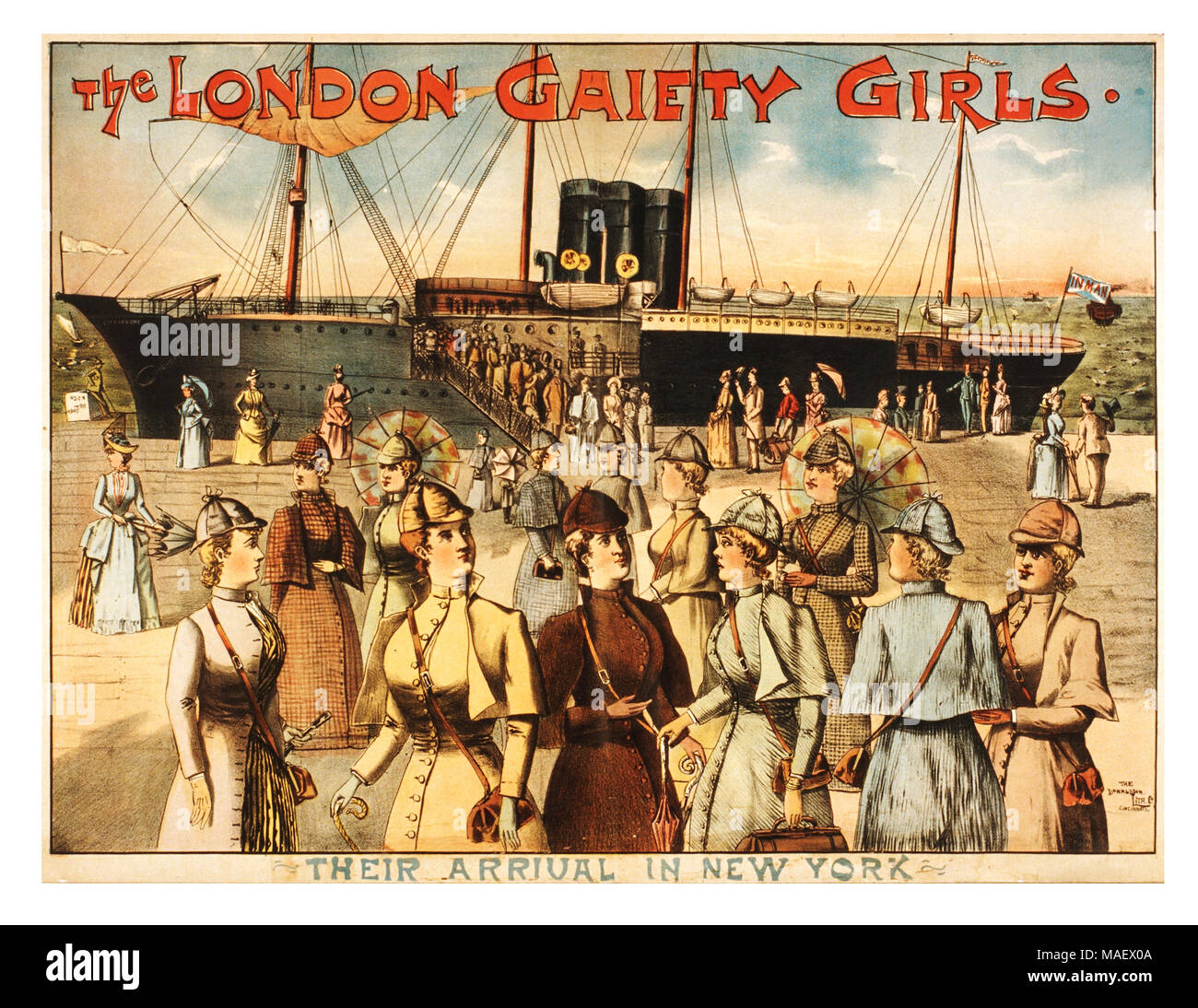 Vintage 1890's Theatre Performance Poster 'The London Gaiety Girls'  arrival in New York. Promotional poster in America - Stock Image