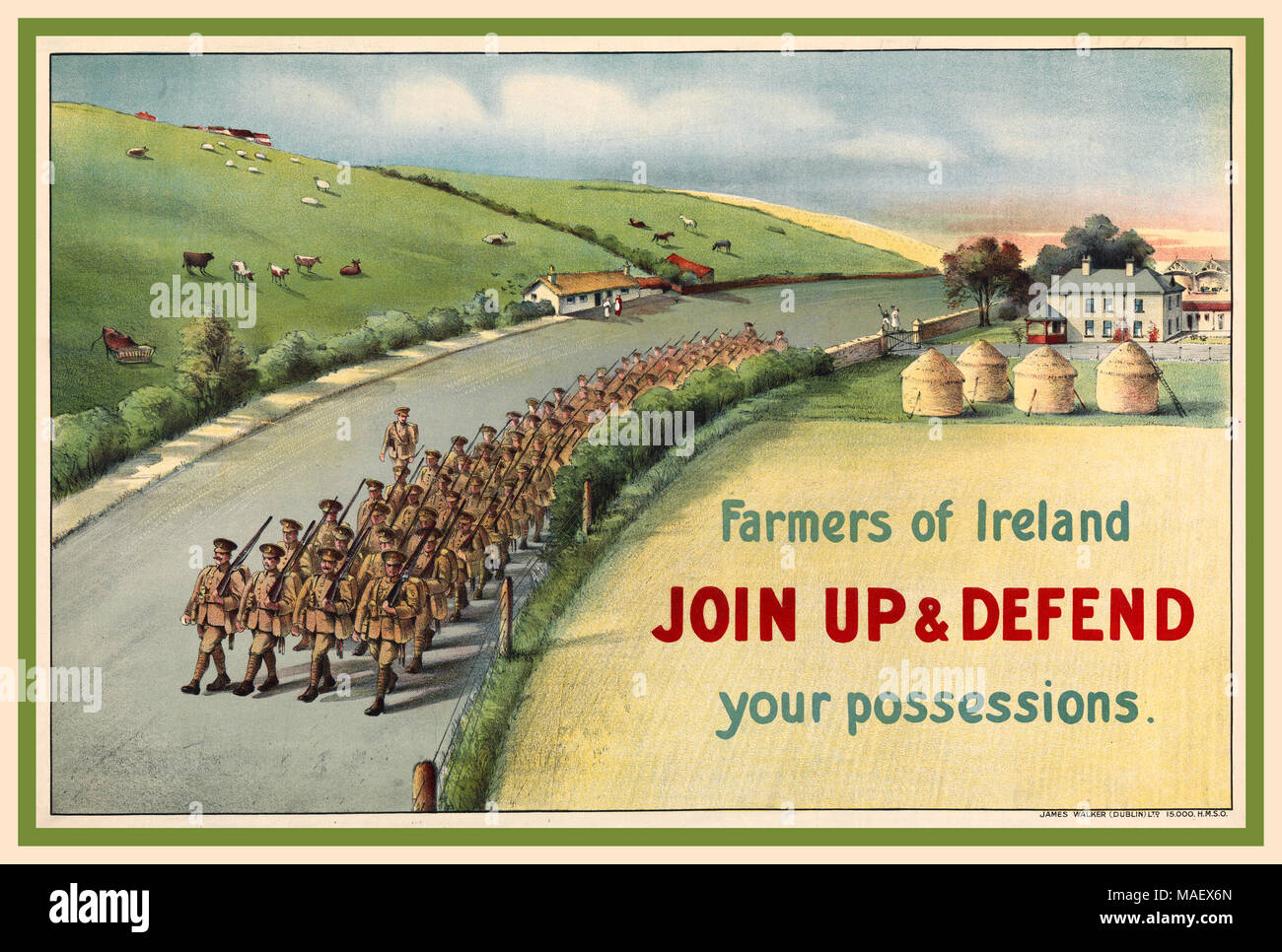 1914 Vintage WW1 Recruitment Propaganda Poster with column of Irish soldiers marching along a country road in Ireland, passing haystacks, houses and animals grazing in fields. Farmers of Ireland JOIN UP AND DEFEND your possessions. 140000 Irish men joined the British army in Ireland to fight in the First World War. - Stock Image