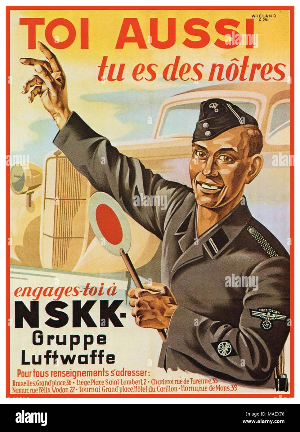 WW2 Vintage Nazi Germany Propaganda Recruitment Poster in Belgium 'You Too – You're One of Us. Enlist to NSKK (National Socialist Motor Corps) Gruppe Luftwaffe'  Belgium/Flemish 'Voluntarily enlist in an auxiliary unit of the German Luftwaffe'    1939-1945 World War II Nazi Work Programme - Stock Image