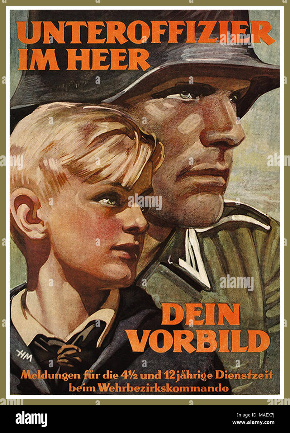 """WW2 Nazi Propaganda Poster for Hitler Youth 1943 """"Be a Non-Commissioned Officer In The Army. Follow his example"""". .'Message to our Hitler Youth aged between 4 and 12 years' - Stock Image"""