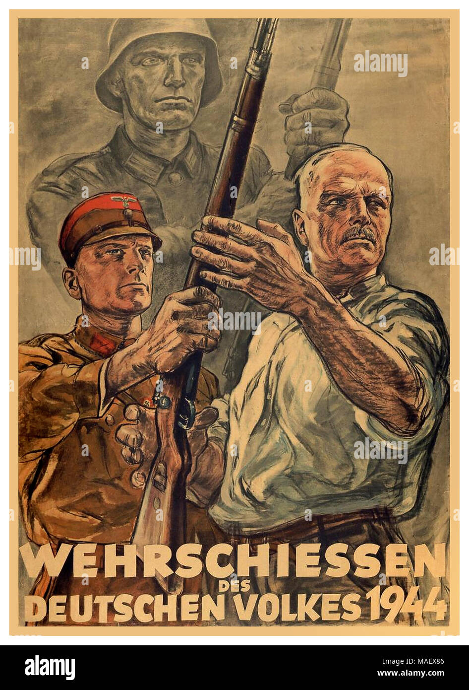 1940's Vintage  WW2 Nazi Propaganda Poster 1944 illustrating a mature civilian man being handed a rifle to do his part in defending the German people against imminent invasion - Stock Image