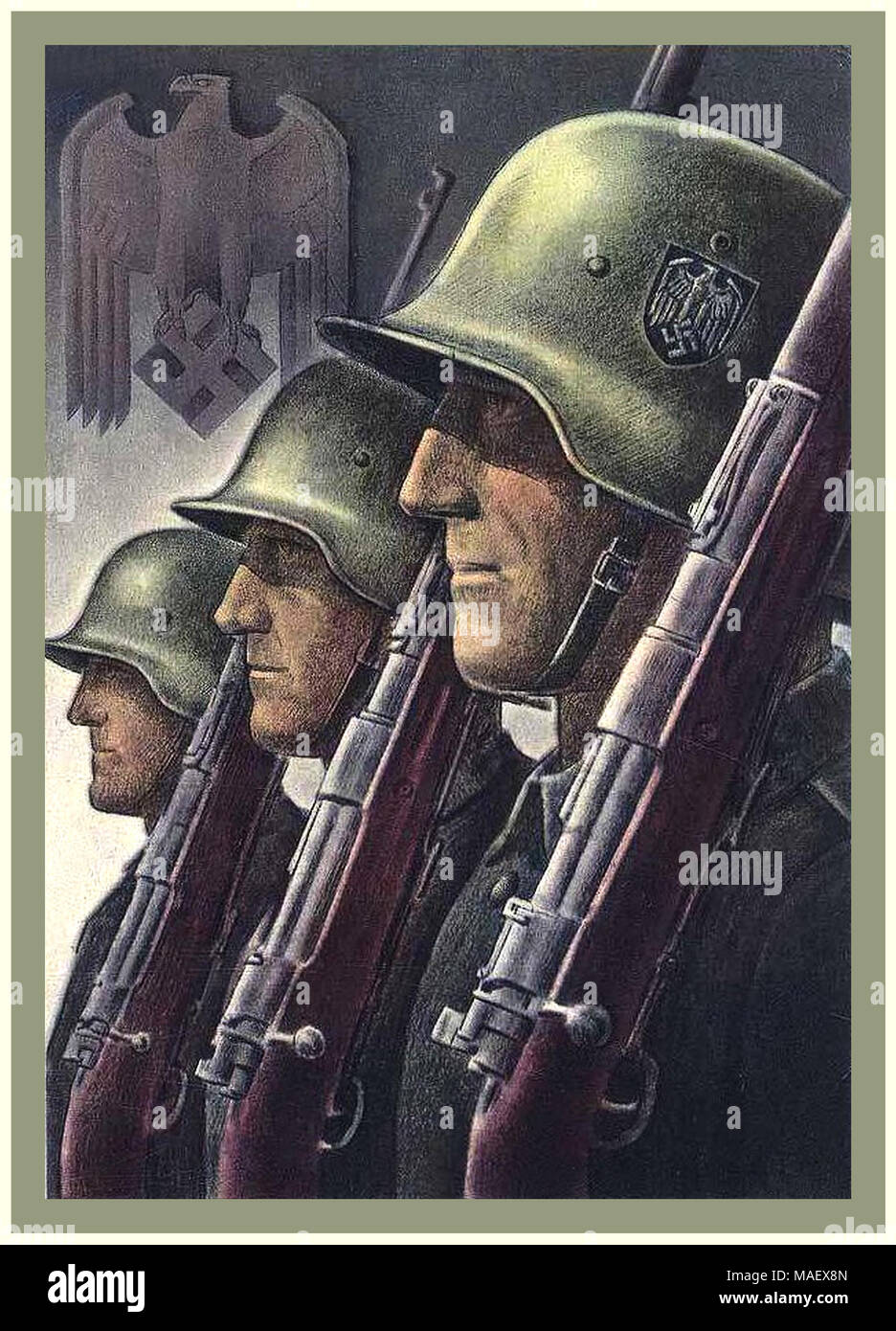 Vintage 1940's Nazi Germany WW2 Propaganda Wehrmacht Army Soldier Military Recruitment Poster - Stock Image