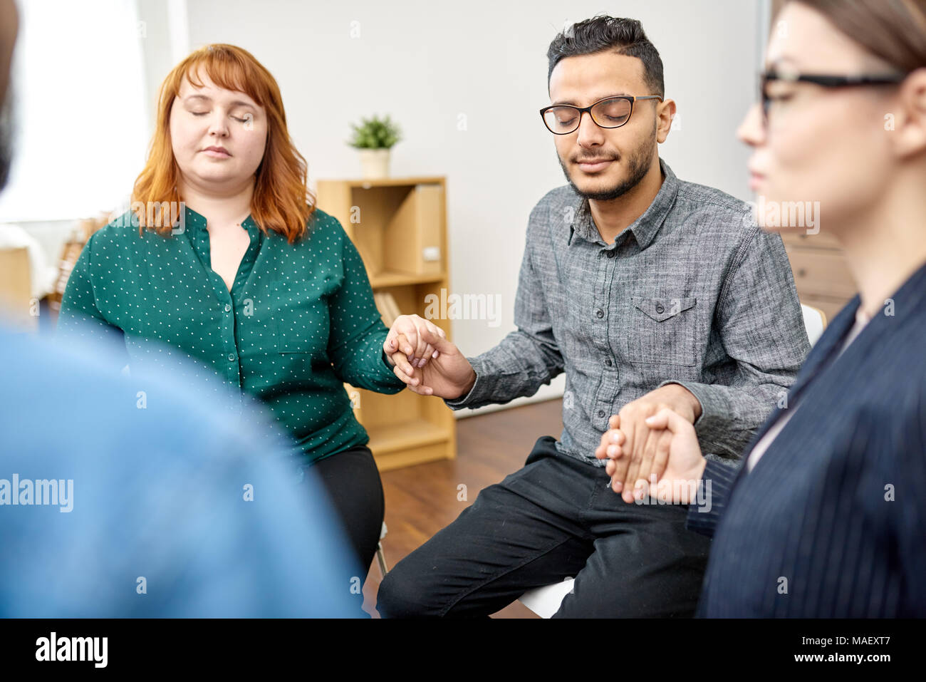 Participants of Group Therapy Session - Stock Image