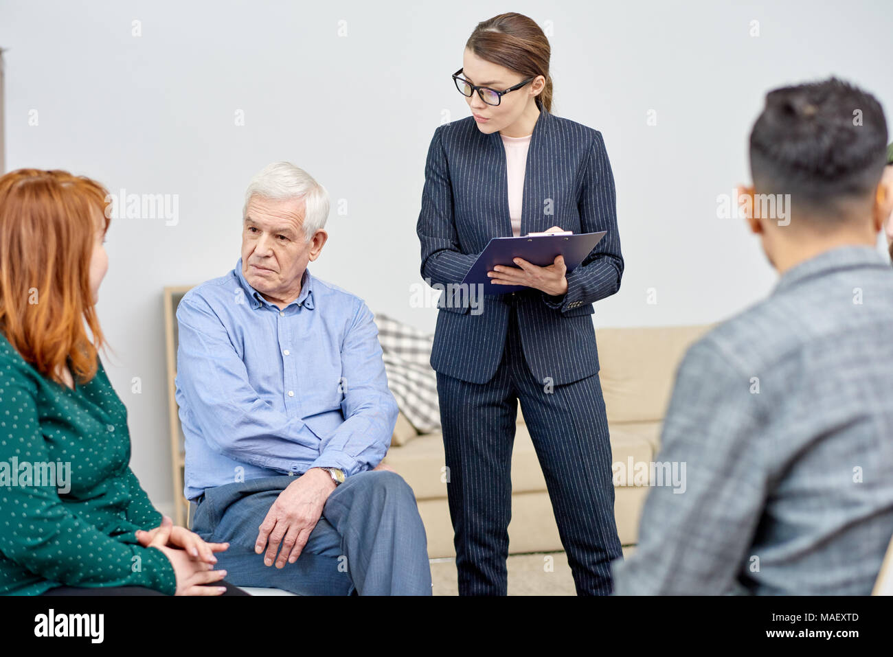 Communication of Group Therapy Participants - Stock Image