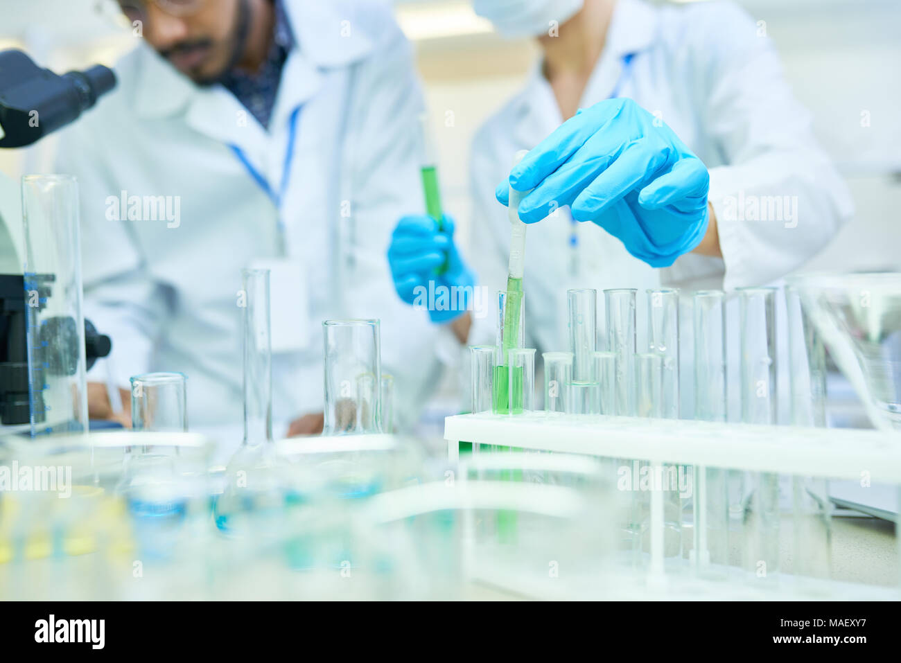 Medical colleagues holding research in lab - Stock Image