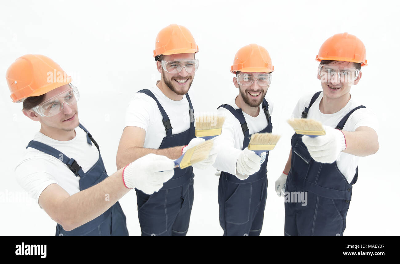 view from the top. a group of builders .isolated on white - Stock Image