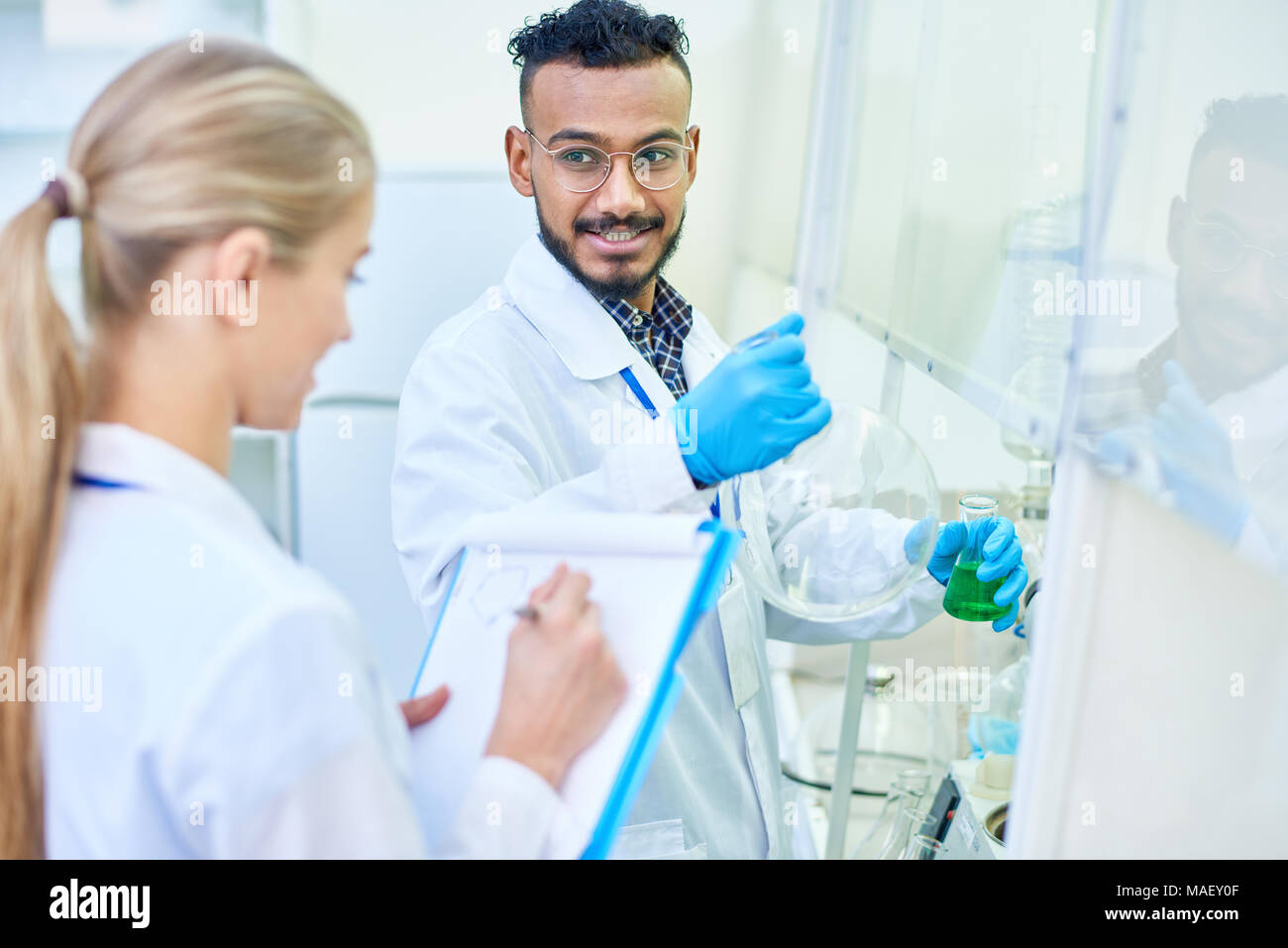 Experienced researcher ready for new discovery - Stock Image
