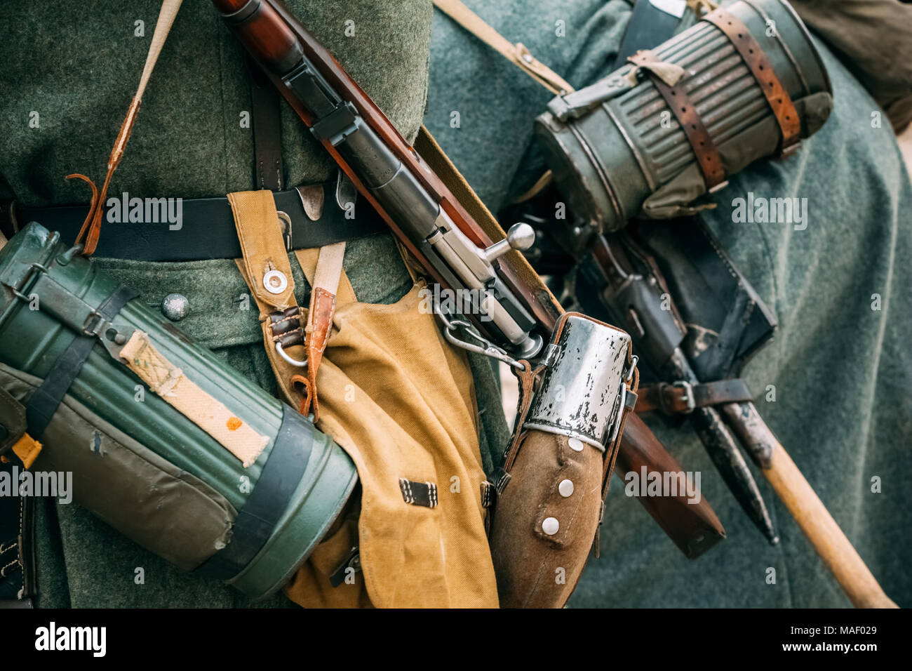 Rifle, flask and other equipment soldier Wehrmacht during the Second World War Stock Photo