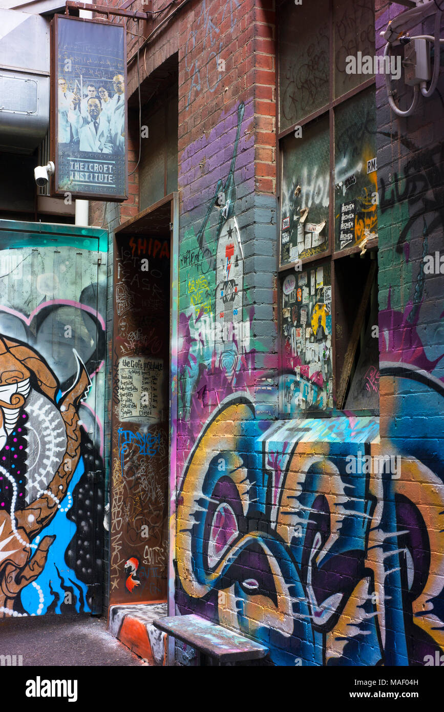 Entrance to The Croft Institute, a bar in a Melbourne alley off Chinatown. - Stock Image
