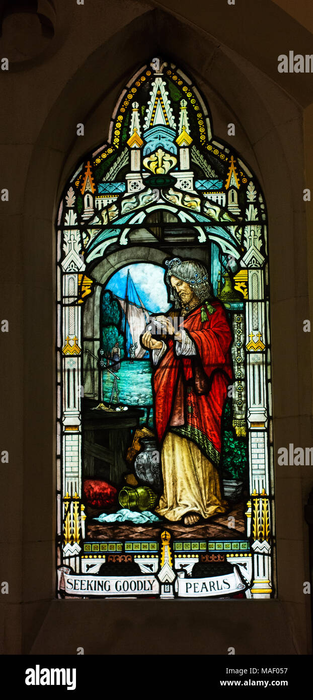 Stained glass window in The Scots' Church, Melbourne, depicting the Parable of the Hidden Pearl. - Stock Image