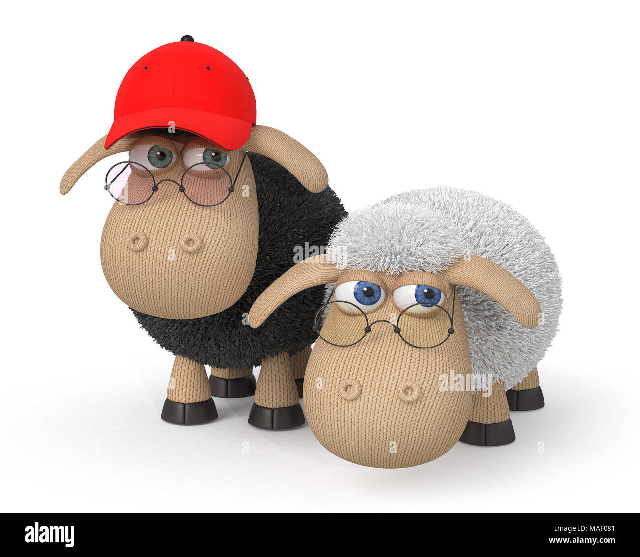 3d illustration funny fluffy sheep do different things/ fluffy farm animals amuse themselves Stock Photo