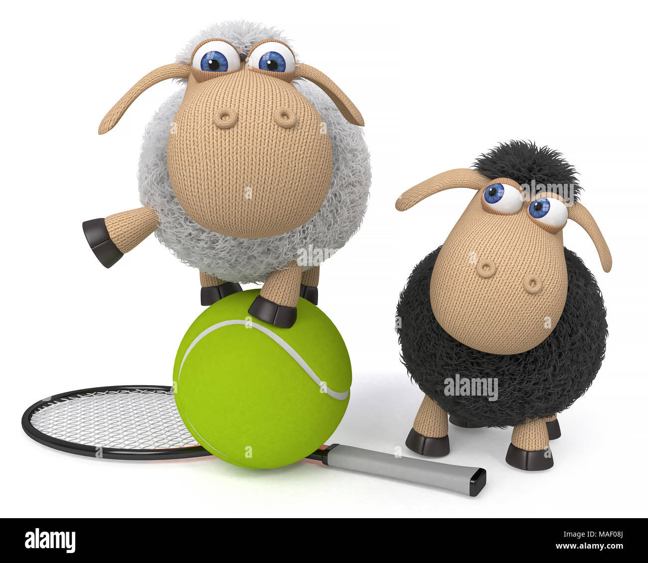 3d illustration funny fluffy sheep do different things/ fluffy farm animals amuse themselves - Stock Image