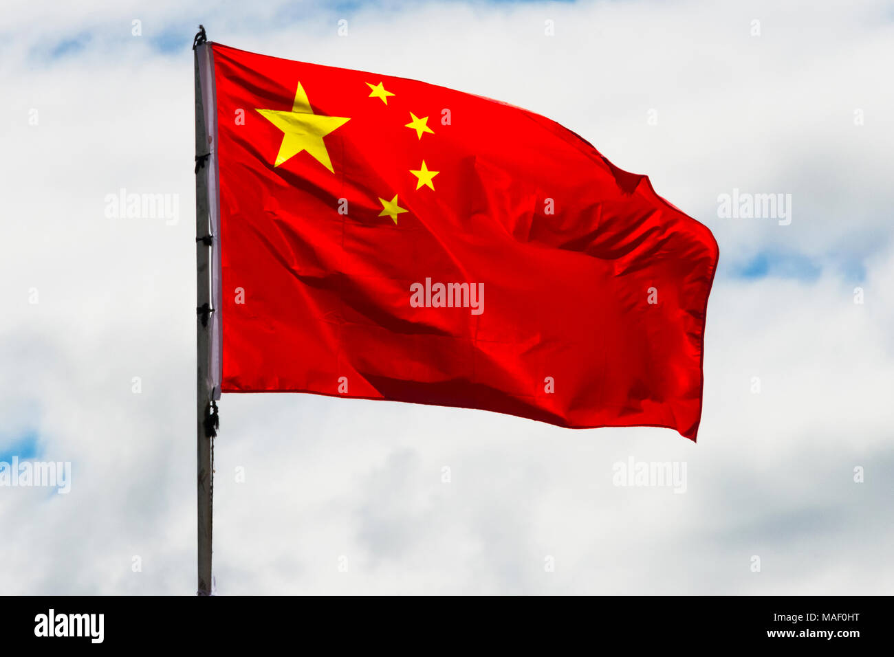 National flag, western Sichuan, China - Stock Image