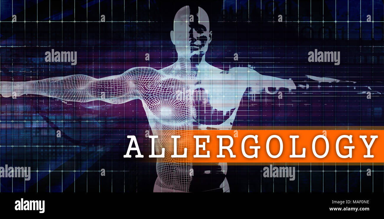 Allergology Medical Industry with Human Body Scan Concept - Stock Image