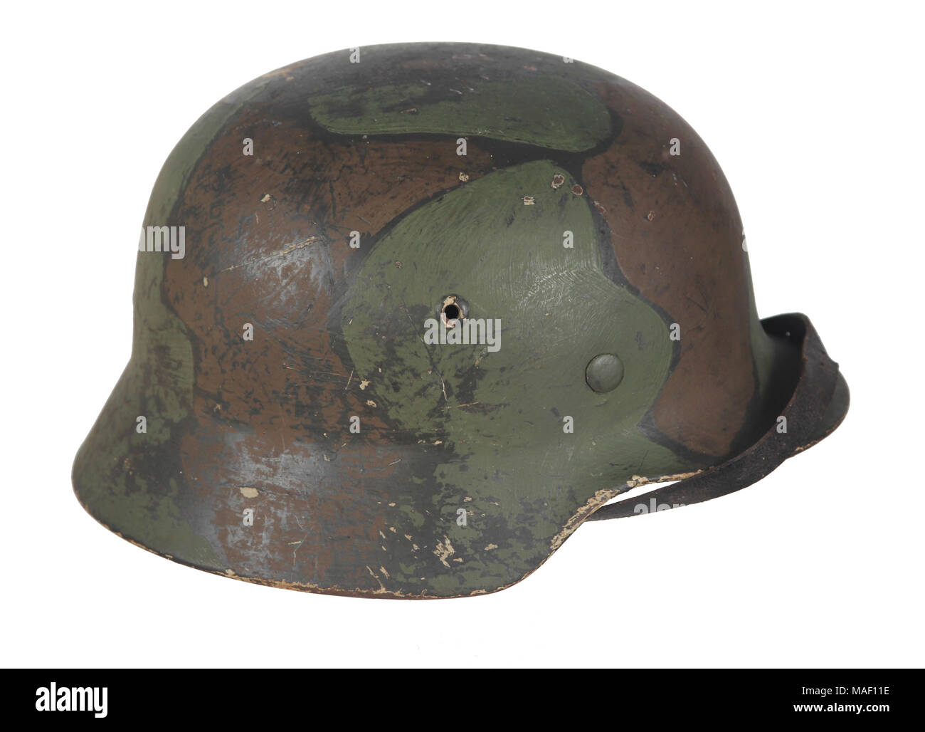 World War 2 German M35 Camouflage Painted Helmet Found In Norway The Summer Is Over A Winter White Coat Of Paint