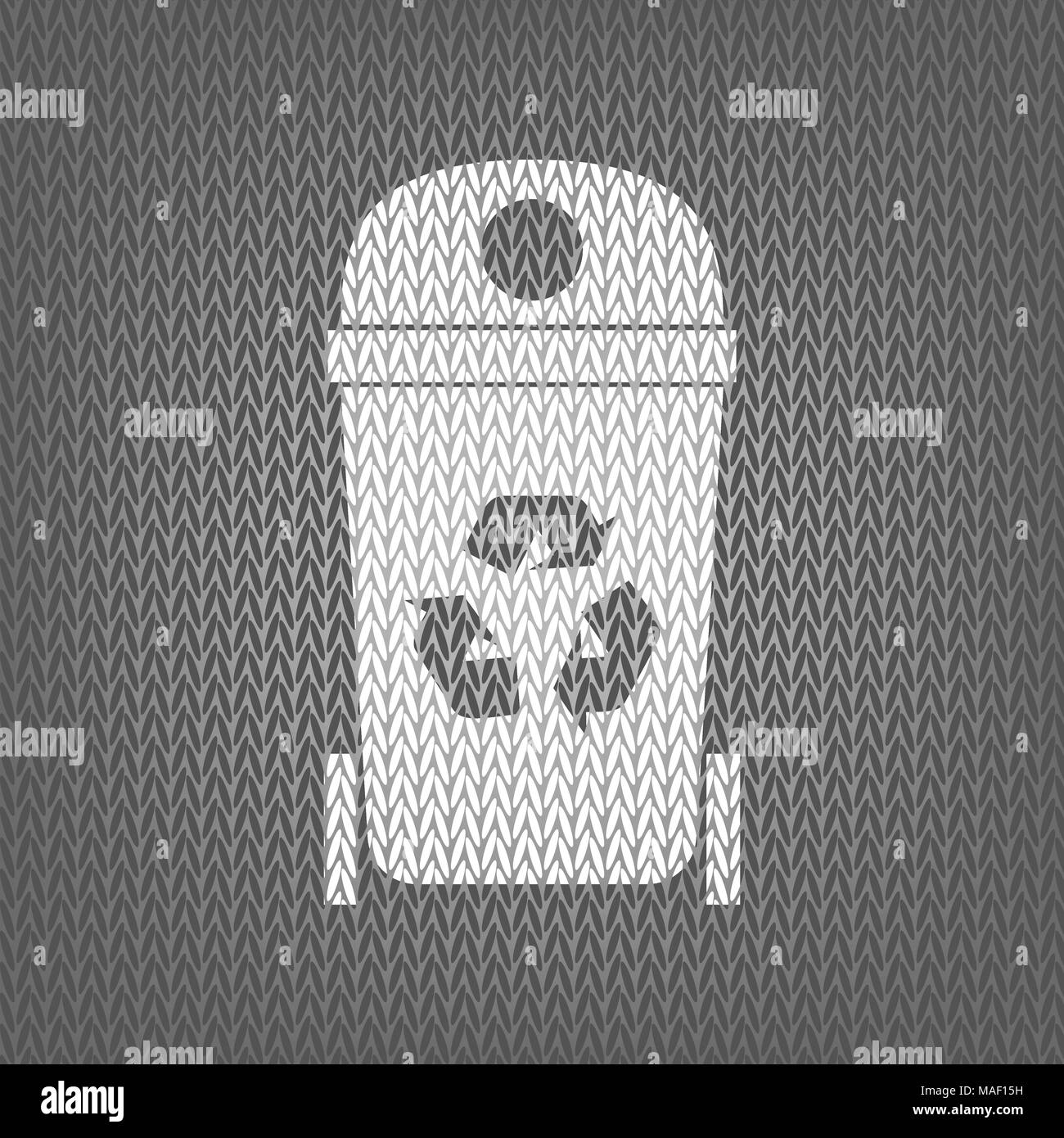 Trashcan sign illustration. Vector. White knitted icon on gray knitted background. Isolated. - Stock Vector