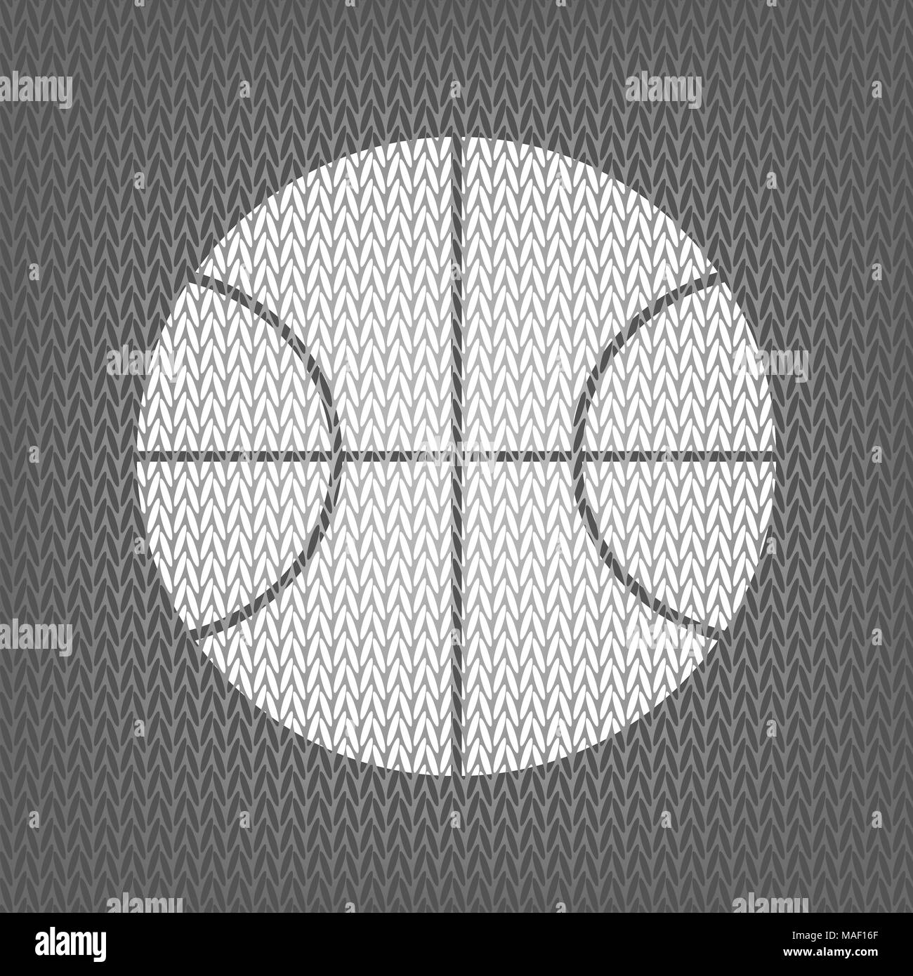 Basketball ball sign illustration. Vector. White knitted icon on gray knitted background. Isolated. - Stock Image